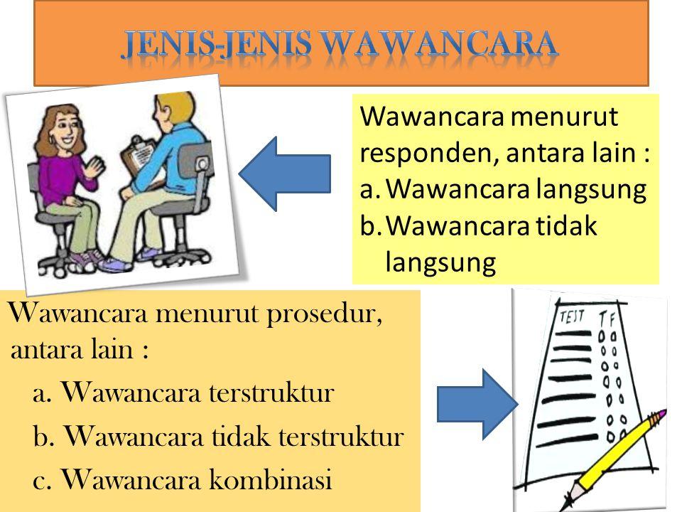 Wawancara menurut prosedur, antara lain : a. Wawancara terstruktur b. Wawancara tidak terstruktur c. Wawancara kombinasi Wawancara menurut responden,