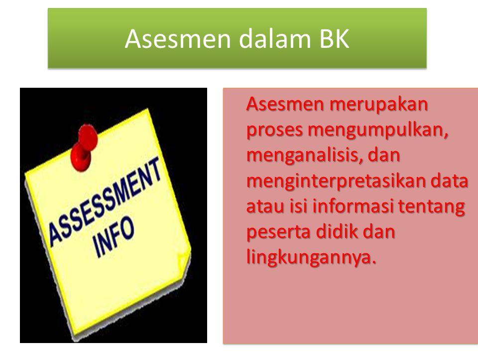 Asesmen dalam BK Asesmen merupakan proses mengumpulkan, menganalisis, dan menginterpretasikan data atau isi informasi tentang peserta didik dan lingkungannya.