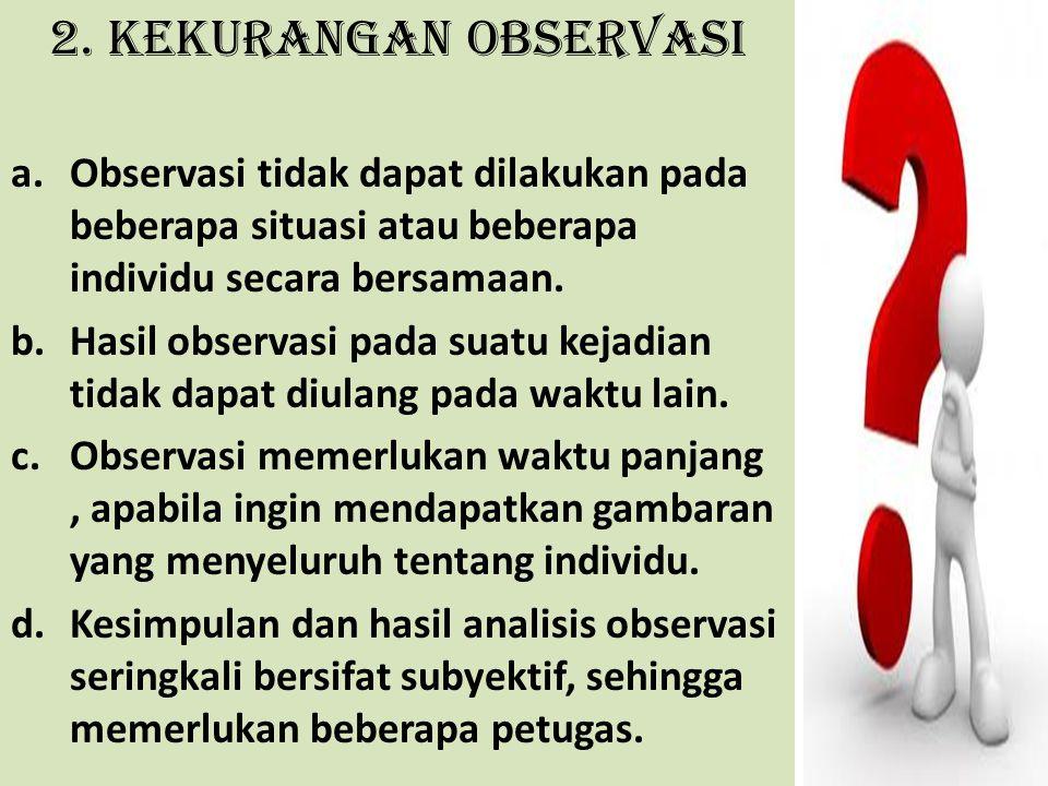 2. Kekurangan Observasi a.Observasi tidak dapat dilakukan pada beberapa situasi atau beberapa individu secara bersamaan. b.Hasil observasi pada suatu