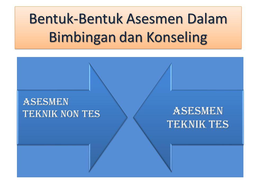 Asesmen teknik nontes Asesmen teknik nontes lebih sering digunakan oleh petugas bimbingan dan konseling karena prosedur perancangan, pengadministrasi-an, pengolahan, analisis dan penafsirannya relatif lebih sederhana bila dibandingkan dengan asesmen teknik tes.