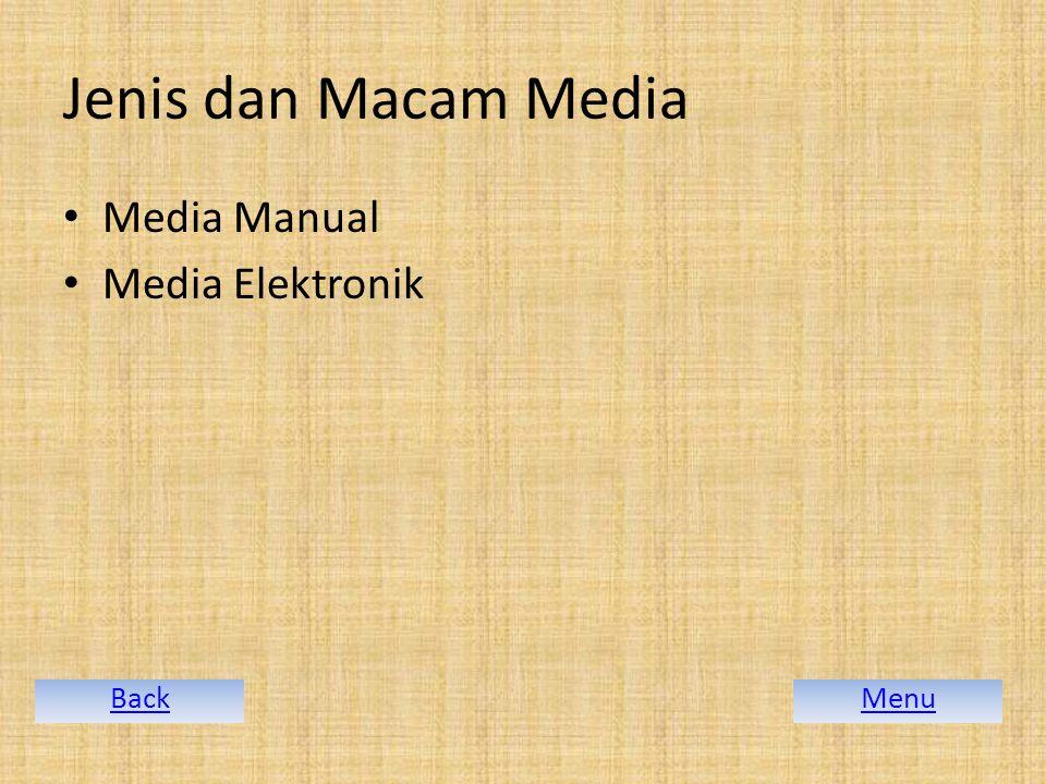 Jenis dan Macam Media Media Manual Media Elektronik MenuBack