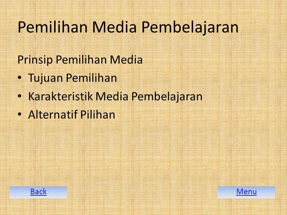 Pemilihan Media Pembelajaran Prinsip Pemilihan Media Tujuan Pemilihan Karakteristik Media Pembelajaran Alternatif Pilihan MenuBack