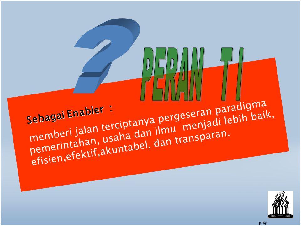 16 Sebagai Enabler : memberi jalan terciptanya pergeseran paradigma pemerintahan, usaha dan ilmu menjadi lebih baik, efisien,efektif,akuntabel, dan transparan.