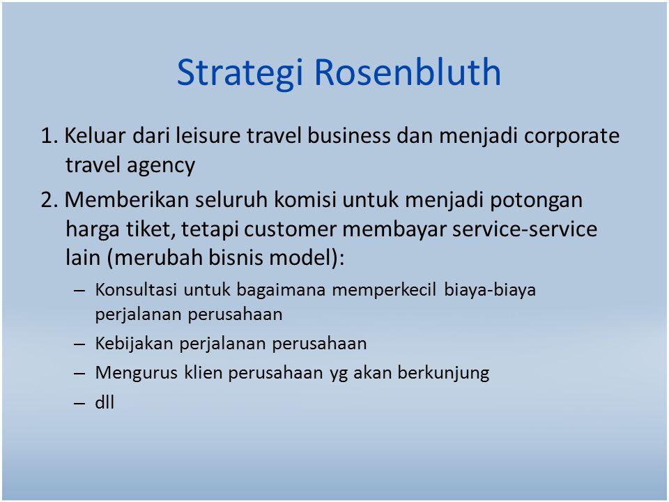 Strategi Rosenbluth 1.Keluar dari leisure travel business dan menjadi corporate travel agency 2.