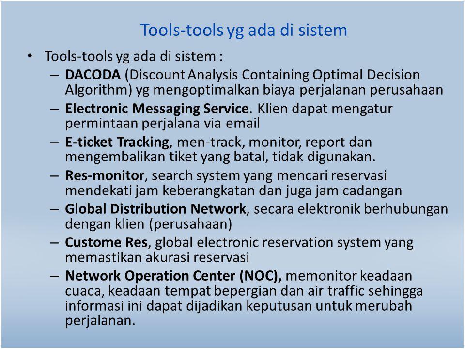 Tools-tools yg ada di sistem Tools-tools yg ada di sistem : – DACODA (Discount Analysis Containing Optimal Decision Algorithm) yg mengoptimalkan biaya perjalanan perusahaan – Electronic Messaging Service.