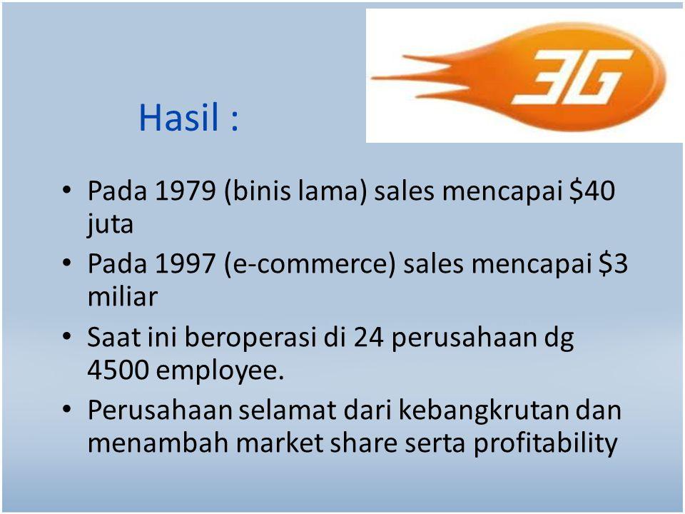 Hasil : Pada 1979 (binis lama) sales mencapai $40 juta Pada 1997 (e-commerce) sales mencapai $3 miliar Saat ini beroperasi di 24 perusahaan dg 4500 employee.