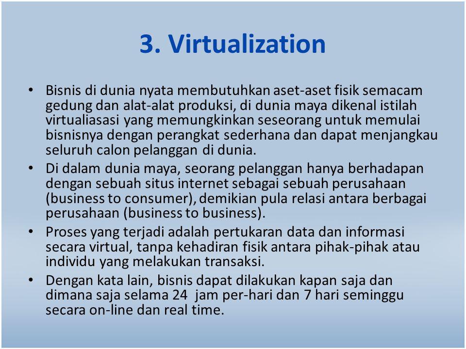 3. Virtualization Bisnis di dunia nyata membutuhkan aset-aset fisik semacam gedung dan alat-alat produksi, di dunia maya dikenal istilah virtualiasasi