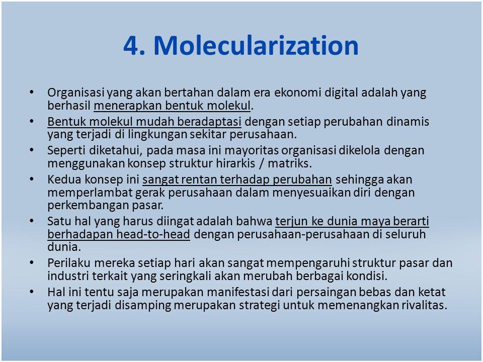 4. Molecularization Organisasi yang akan bertahan dalam era ekonomi digital adalah yang berhasil menerapkan bentuk molekul. Bentuk molekul mudah berad