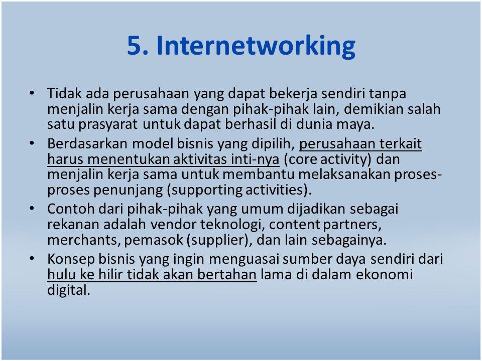 5. Internetworking Tidak ada perusahaan yang dapat bekerja sendiri tanpa menjalin kerja sama dengan pihak-pihak lain, demikian salah satu prasyarat un