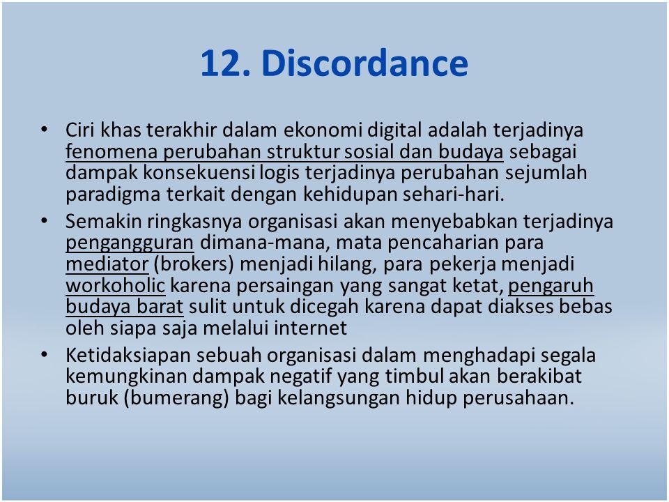 12. Discordance Ciri khas terakhir dalam ekonomi digital adalah terjadinya fenomena perubahan struktur sosial dan budaya sebagai dampak konsekuensi lo