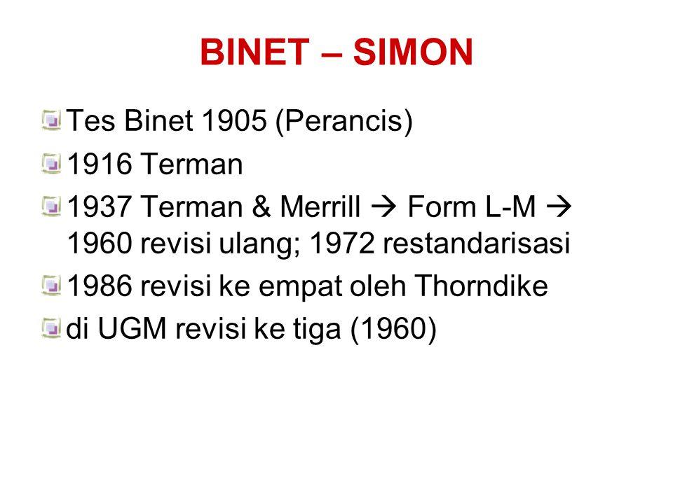 BINET – SIMON Tes Binet 1905 (Perancis) 1916 Terman 1937 Terman & Merrill  Form L-M  1960 revisi ulang; 1972 restandarisasi 1986 revisi ke empat ole