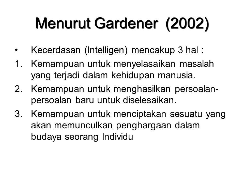 Menurut Gardener (2002) Kecerdasan (Intelligen) mencakup 3 hal : 1.Kemampuan untuk menyelasaikan masalah yang terjadi dalam kehidupan manusia. 2.Kemam