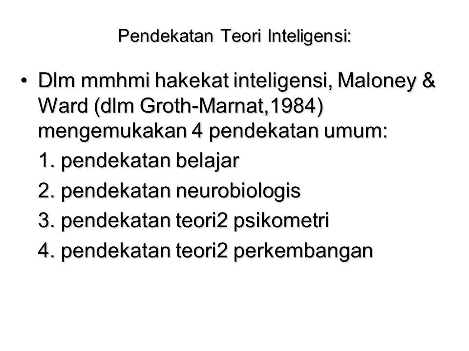 Pendekatan Teori Inteligensi: Dlm mmhmi hakekat inteligensi, Maloney & Ward (dlm Groth-Marnat,1984) mengemukakan 4 pendekatan umum:Dlm mmhmi hakekat i