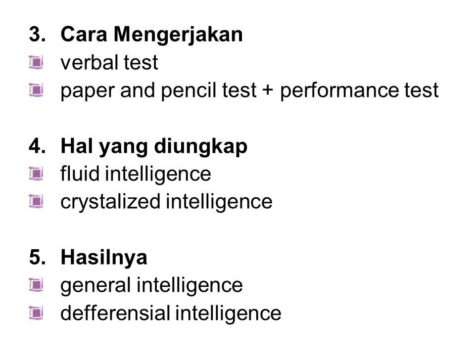 3.Cara Mengerjakan verbal test paper and pencil test + performance test 4.Hal yang diungkap fluid intelligence crystalized intelligence 5.Hasilnya gen