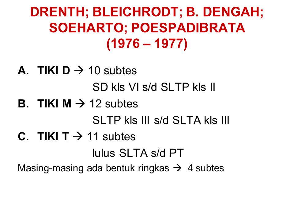 DRENTH; BLEICHRODT; B. DENGAH; SOEHARTO; POESPADIBRATA (1976 – 1977) A.TIKI D  10 subtes SD kls VI s/d SLTP kls II B.TIKI M  12 subtes SLTP kls III