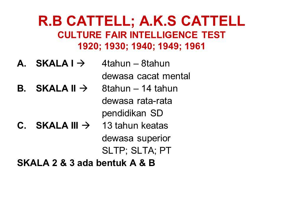 R.B CATTELL; A.K.S CATTELL CULTURE FAIR INTELLIGENCE TEST 1920; 1930; 1940; 1949; 1961 A.SKALA I  4tahun – 8tahun dewasa cacat mental B.SKALA II  8t