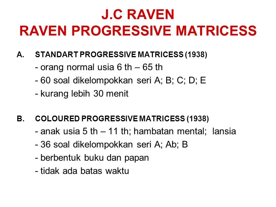 J.C RAVEN RAVEN PROGRESSIVE MATRICESS A.STANDART PROGRESSIVE MATRICESS (1938) - orang normal usia 6 th – 65 th - 60 soal dikelompokkan seri A; B; C; D