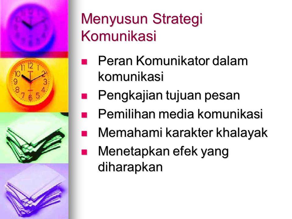 Menyusun Strategi Komunikasi Peran Komunikator dalam komunikasi Peran Komunikator dalam komunikasi Pengkajian tujuan pesan Pengkajian tujuan pesan Pem