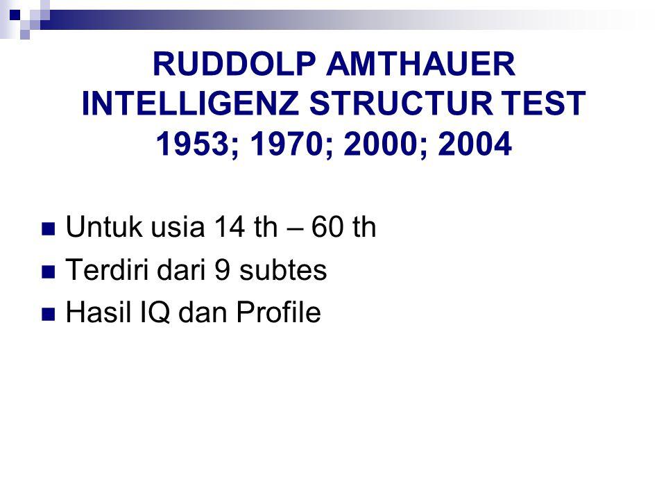 RUDDOLP AMTHAUER INTELLIGENZ STRUCTUR TEST 1953; 1970; 2000; 2004 Untuk usia 14 th – 60 th Terdiri dari 9 subtes Hasil IQ dan Profile