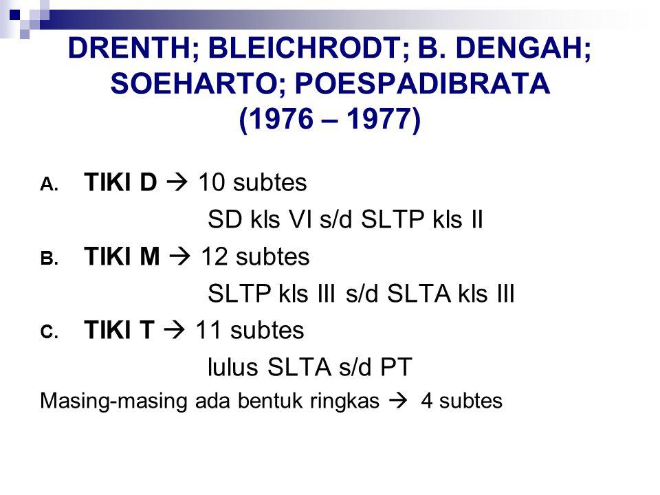DRENTH; BLEICHRODT; B. DENGAH; SOEHARTO; POESPADIBRATA (1976 – 1977) A. TIKI D  10 subtes SD kls VI s/d SLTP kls II B. TIKI M  12 subtes SLTP kls II
