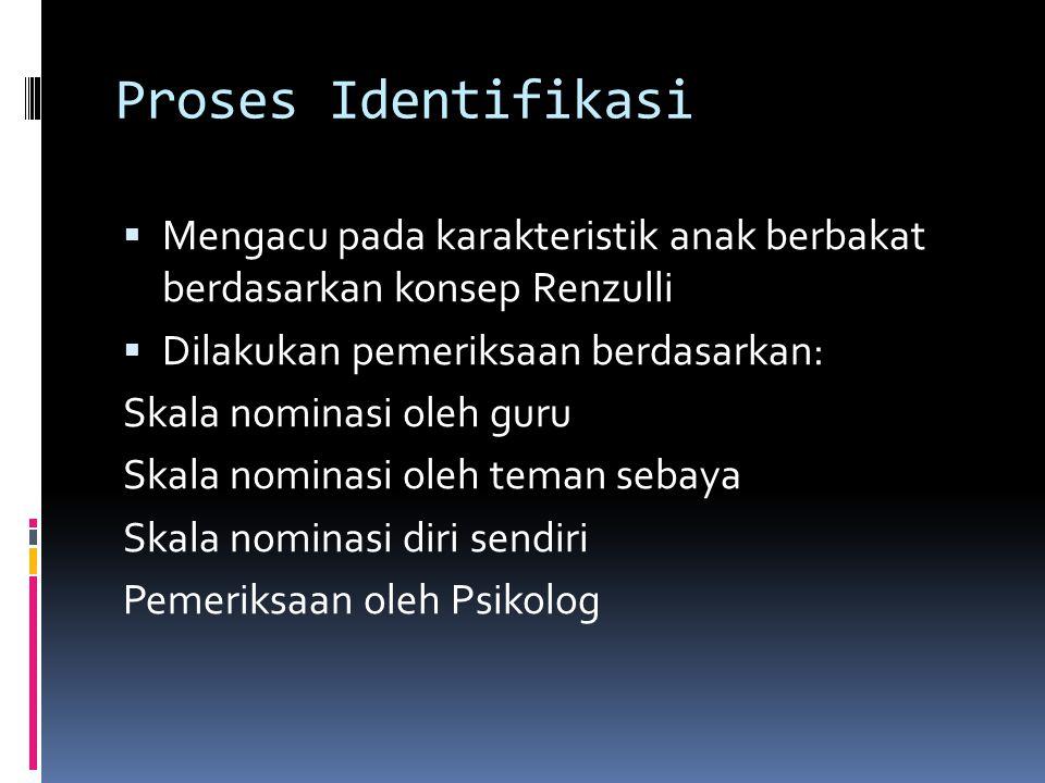 Proses Identifikasi  Mengacu pada karakteristik anak berbakat berdasarkan konsep Renzulli  Dilakukan pemeriksaan berdasarkan: Skala nominasi oleh gu