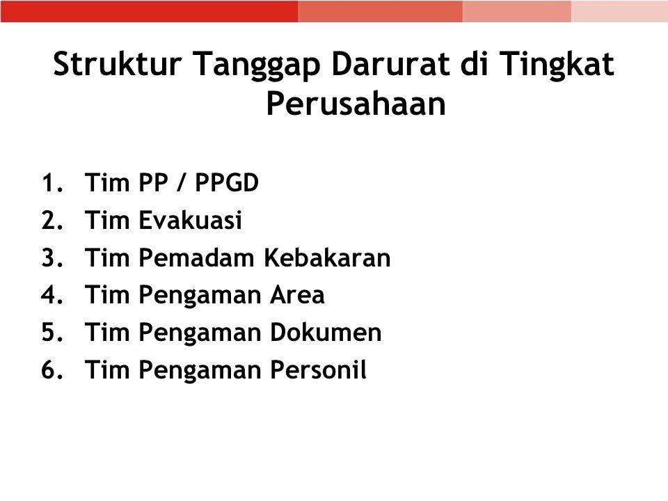 Struktur Tanggap Darurat di Tingkat Perusahaan 1.Tim PP / PPGD 2.Tim Evakuasi 3.Tim Pemadam Kebakaran 4.Tim Pengaman Area 5.Tim Pengaman Dokumen 6.Tim Pengaman Personil