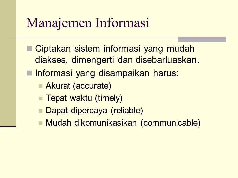 Manajemen Informasi Ciptakan sistem informasi yang mudah diakses, dimengerti dan disebarluaskan. Informasi yang disampaikan harus: Akurat (accurate) T