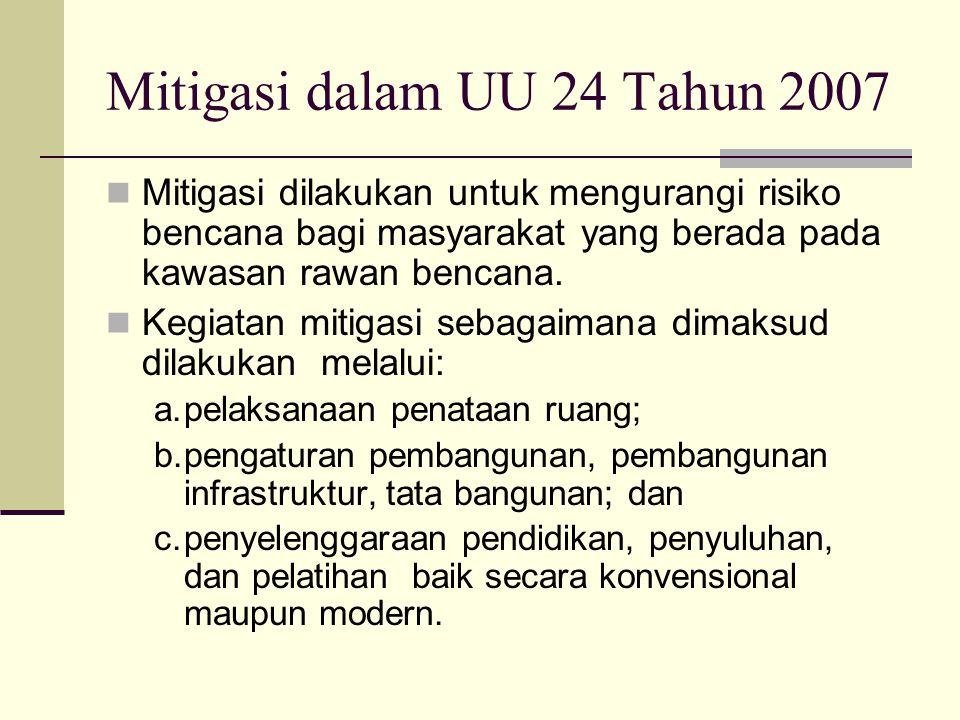 Mitigasi dalam UU 24 Tahun 2007 Mitigasi dilakukan untuk mengurangi risiko bencana bagi masyarakat yang berada pada kawasan rawan bencana. Kegiatan mi