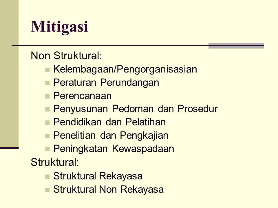 Mitigasi Non Struktural : Kelembagaan/Pengorganisasian Peraturan Perundangan Perencanaan Penyusunan Pedoman dan Prosedur Pendidikan dan Pelatihan Pene