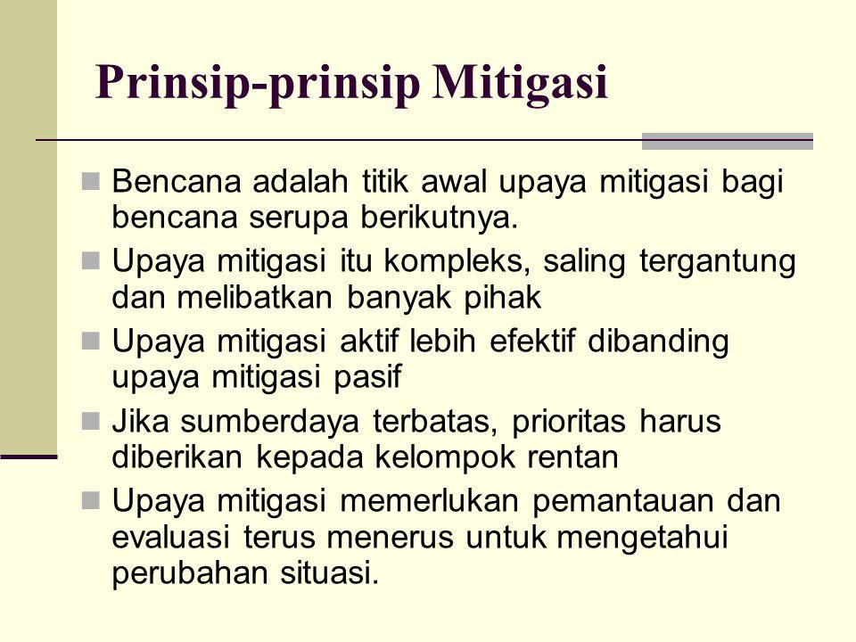 Prinsip-prinsip Mitigasi Bencana adalah titik awal upaya mitigasi bagi bencana serupa berikutnya. Upaya mitigasi itu kompleks, saling tergantung dan m