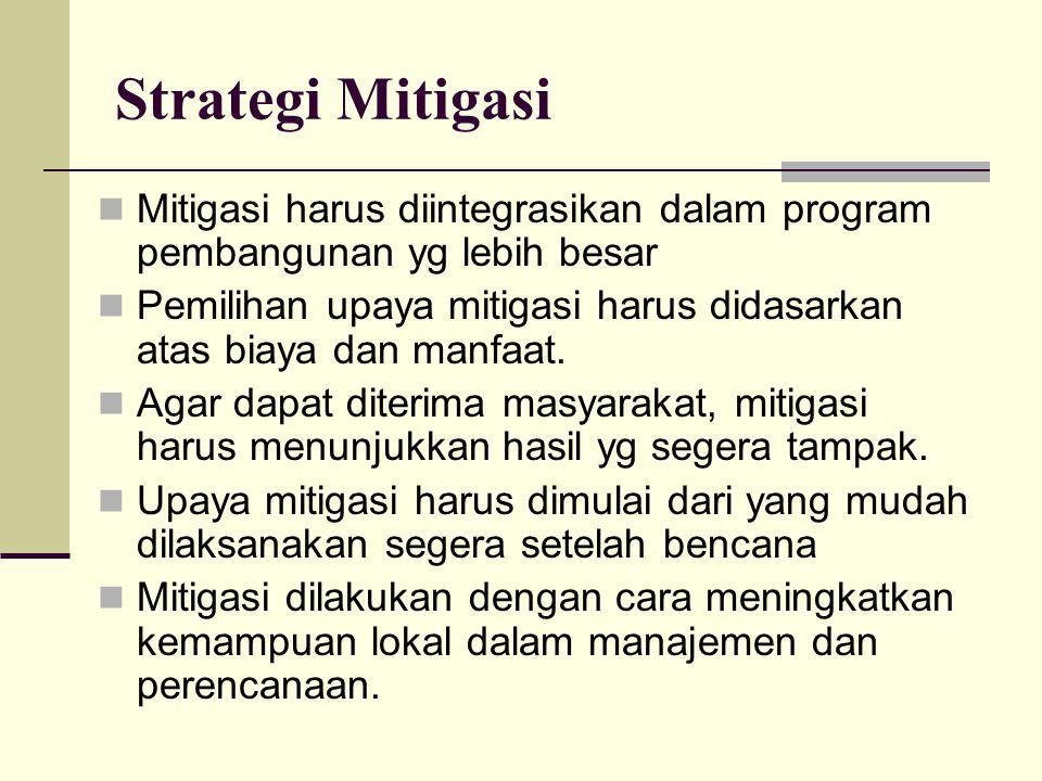 Strategi Mitigasi Mitigasi harus diintegrasikan dalam program pembangunan yg lebih besar Pemilihan upaya mitigasi harus didasarkan atas biaya dan manf