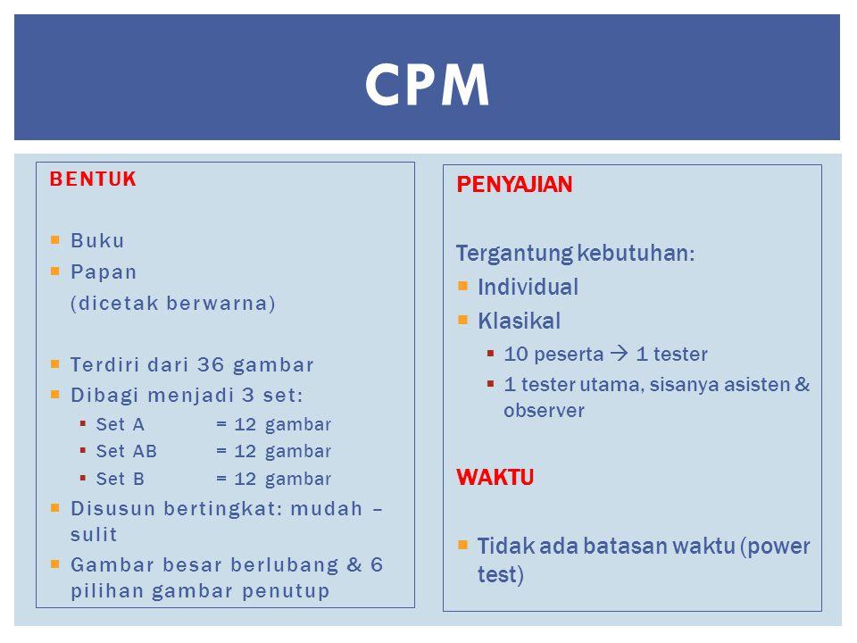 CPM BENTUK  Buku  Papan (dicetak berwarna)  Terdiri dari 36 gambar  Dibagi menjadi 3 set:  Set A = 12 gambar  Set AB = 12 gambar  Set B = 12 ga