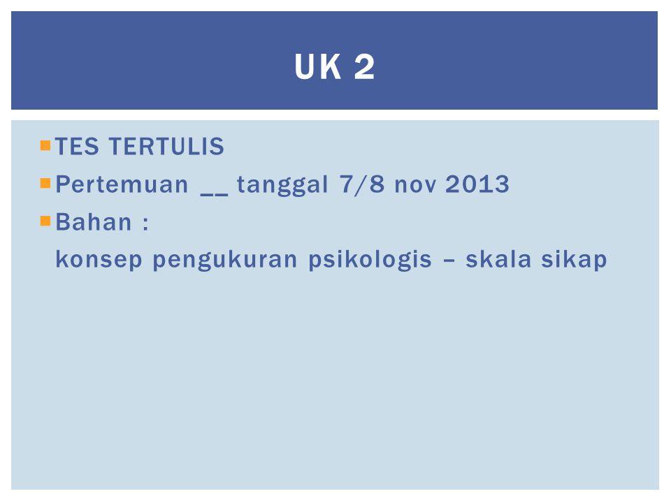 UK 2  TES TERTULIS  Pertemuan __ tanggal 7/8 nov 2013  Bahan : konsep pengukuran psikologis – skala sikap