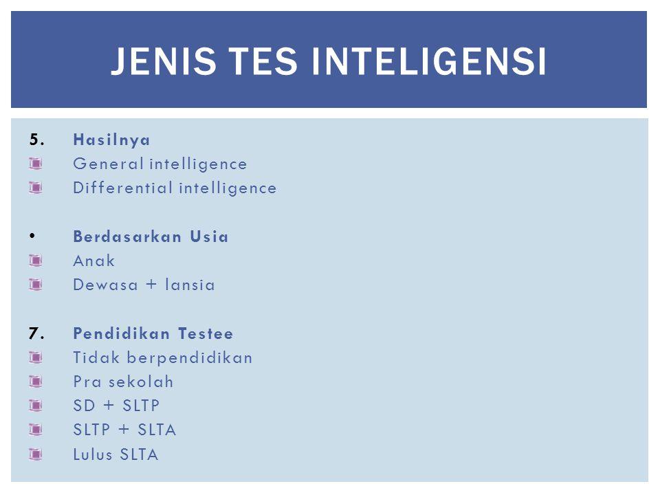 5.Hasilnya General intelligence Differential intelligence Berdasarkan Usia Anak Dewasa + lansia 7.Pendidikan Testee Tidak berpendidikan Pra sekolah SD