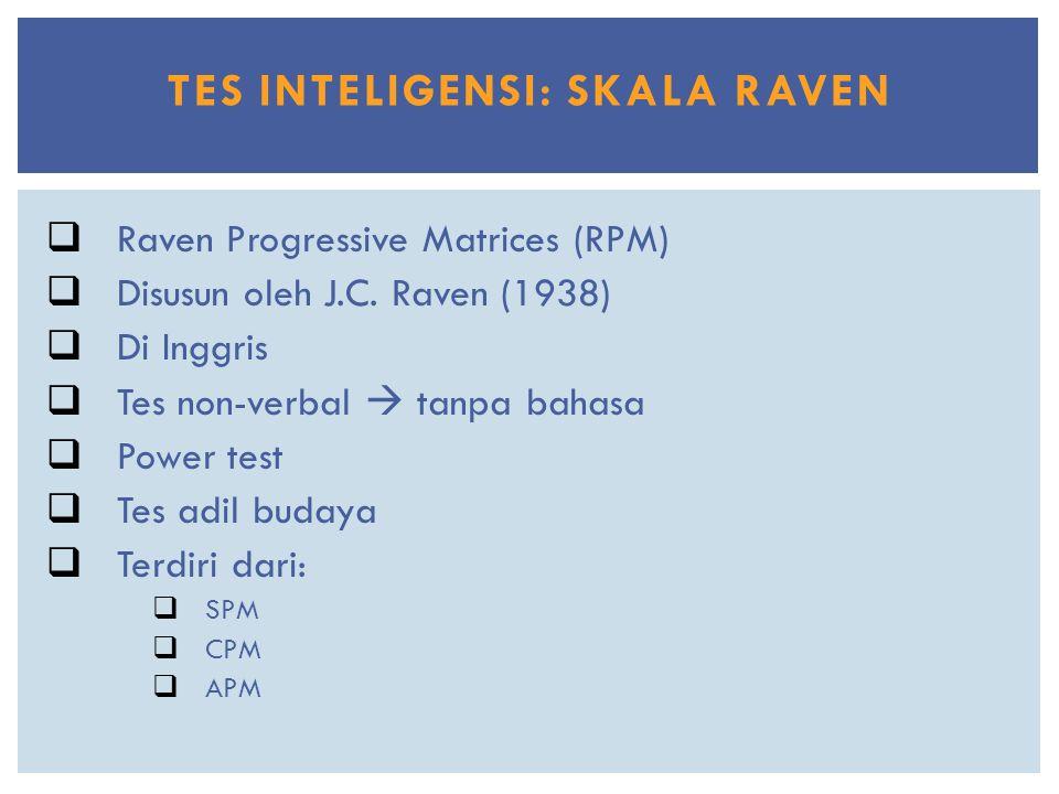 TES INTELIGENSI: SKALA RAVEN  Raven Progressive Matrices (RPM)  Disusun oleh J.C. Raven (1938)  Di Inggris  Tes non-verbal  tanpa bahasa  Power