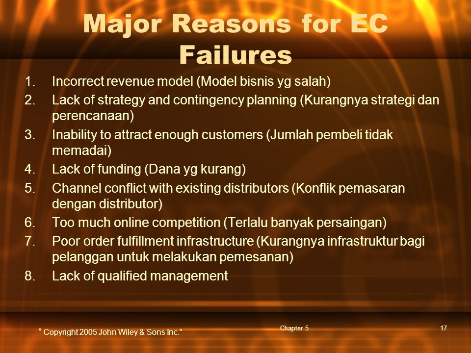 """ Copyright 2005 John Wiley & Sons Inc."" Chapter 517 Major Reasons for EC Failures 1.Incorrect revenue model (Model bisnis yg salah) 2.Lack of strateg"