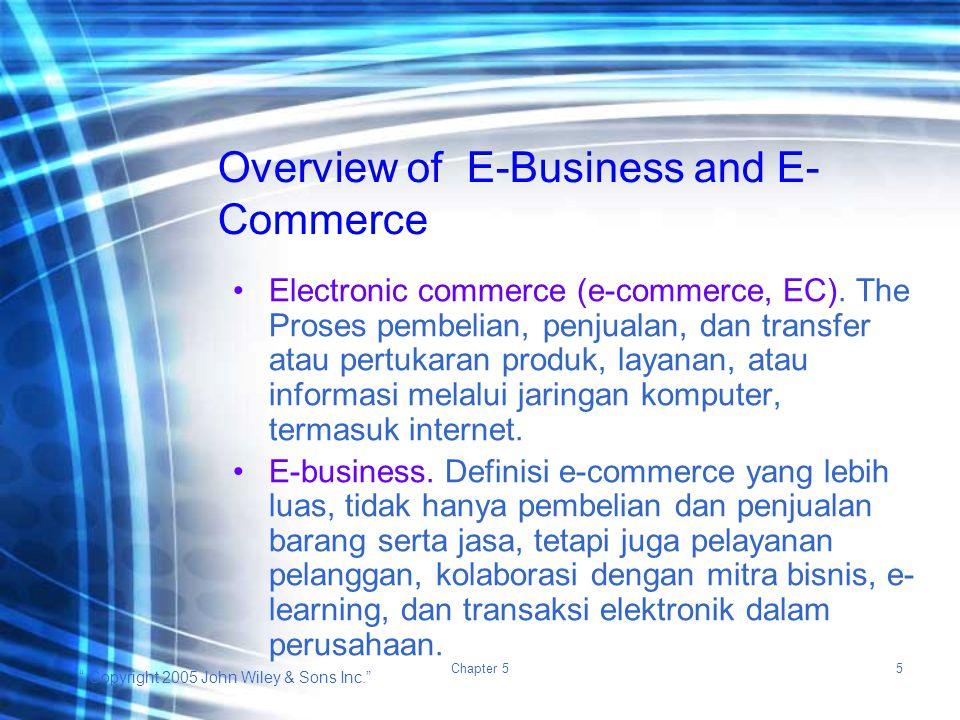 """ Copyright 2005 John Wiley & Sons Inc."" Chapter 55 Electronic commerce (e-commerce, EC). The Proses pembelian, penjualan, dan transfer atau pertukara"