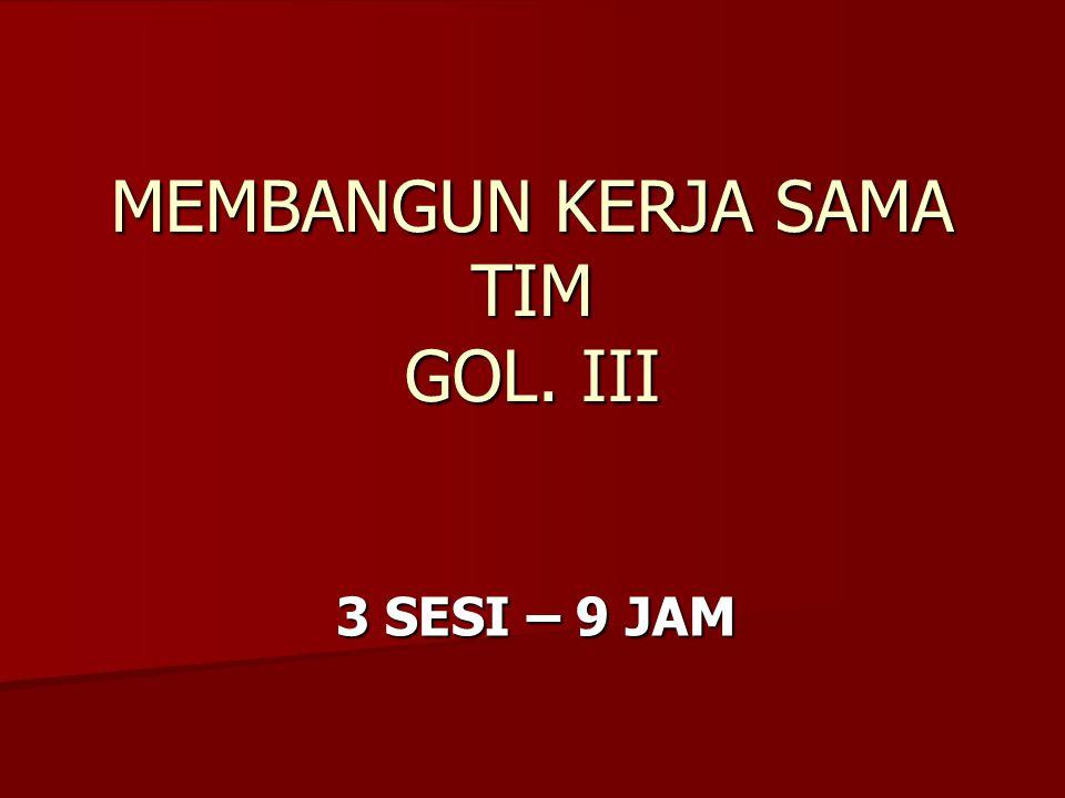 MEMBANGUN KERJA SAMA TIM GOL. III 3 SESI – 9 JAM 3 SESI – 9 JAM