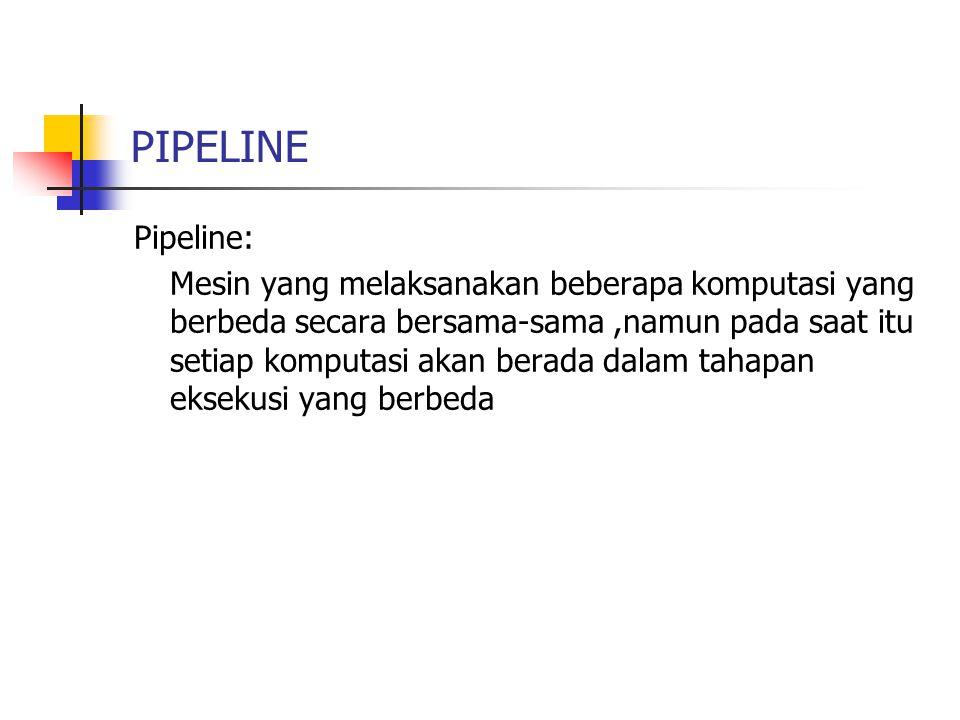 PIPELINE Pipeline: Mesin yang melaksanakan beberapa komputasi yang berbeda secara bersama-sama,namun pada saat itu setiap komputasi akan berada dalam