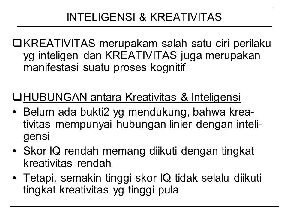 INTELIGENSI & KREATIVITAS  KREATIVITAS merupakam salah satu ciri perilaku yg inteligen dan KREATIVITAS juga merupakan manifestasi suatu proses kognit