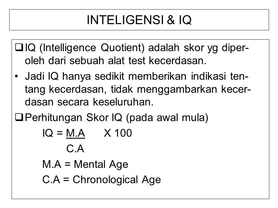 INTELIGENSI & IQ  IQ (Intelligence Quotient) adalah skor yg diper- oleh dari sebuah alat test kecerdasan. Jadi IQ hanya sedikit memberikan indikasi t