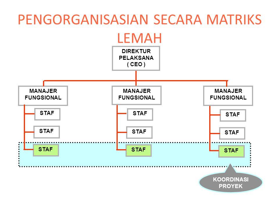PENGORGANISASIAN SECARA MATRIKS LEMAH DIREKTUR PELAKSANA ( CEO ) MANAJER FUNGSIONAL STAF KOORDINASI PROYEK