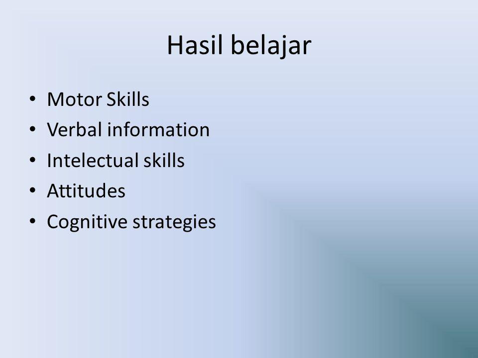 Hasil belajar Motor Skills Verbal information Intelectual skills Attitudes Cognitive strategies