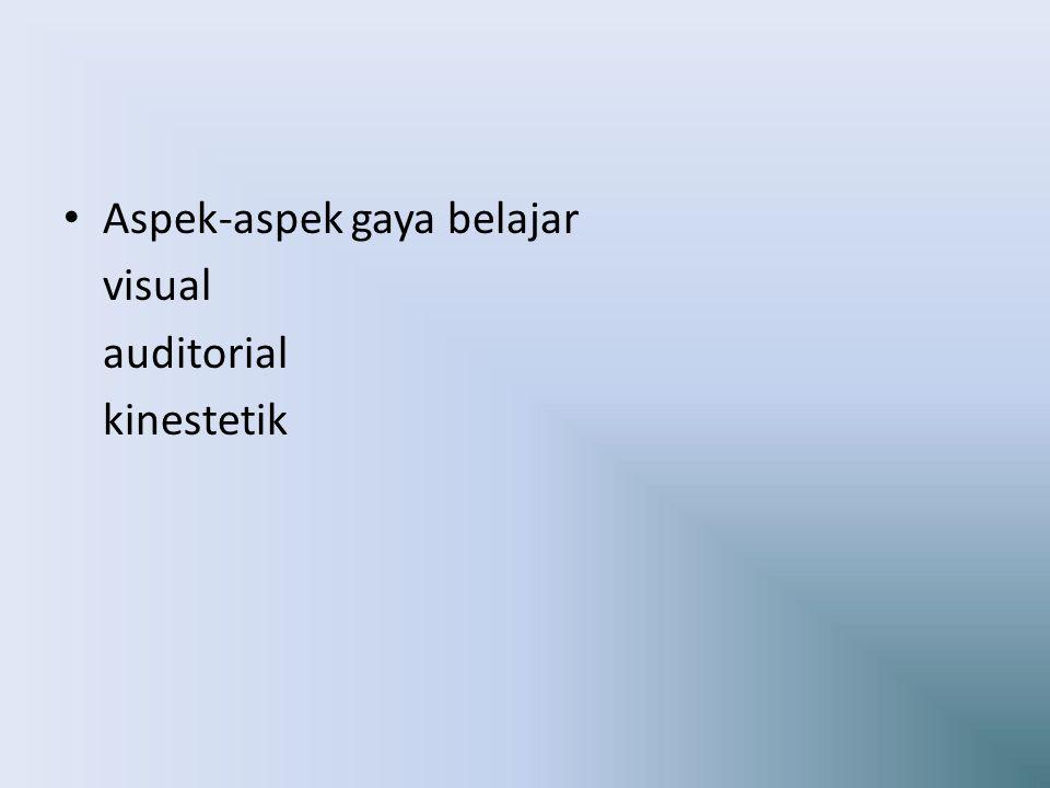 Aspek-aspek gaya belajar visual auditorial kinestetik