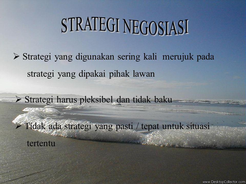  Strategi negosiasi adalah langkah dasar / rencana untuk memperoleh sasaran. Biasanya dilakukan dalam berbagai taktik yang berpariasi.  Strategi yan