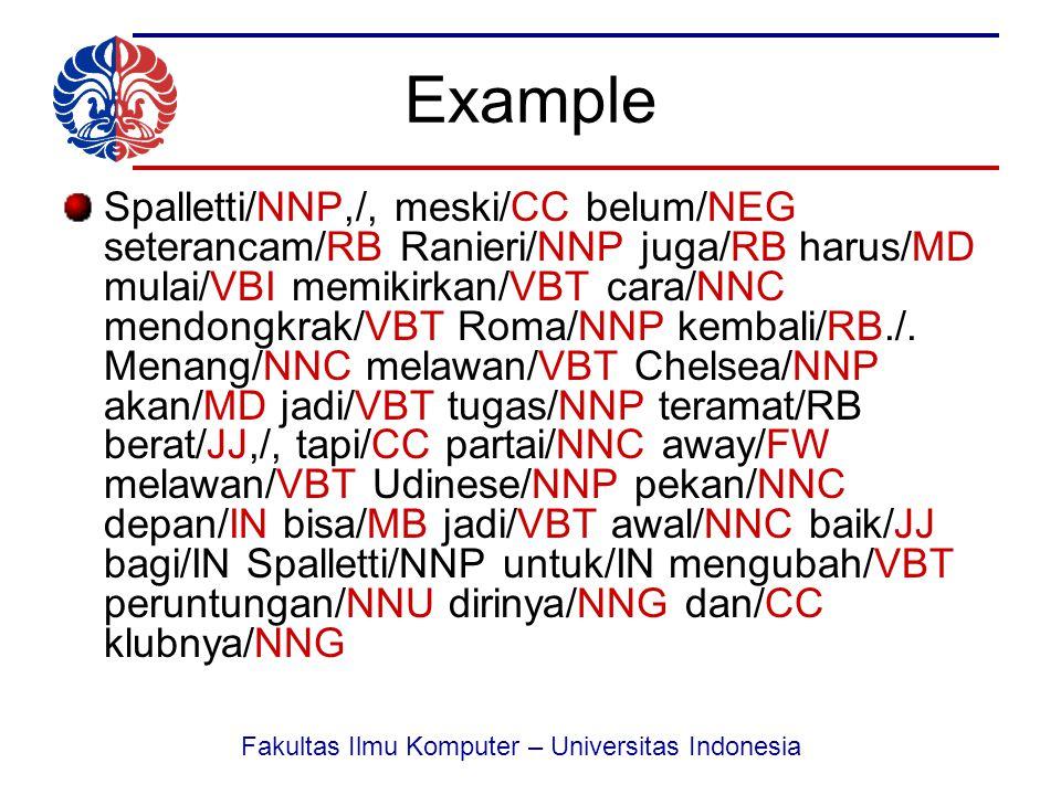 Fakultas Ilmu Komputer – Universitas Indonesia Example Spalletti/NNP,/, meski/CC belum/NEG seterancam/RB Ranieri/NNP juga/RB harus/MD mulai/VBI memikirkan/VBT cara/NNC mendongkrak/VBT Roma/NNP kembali/RB./.