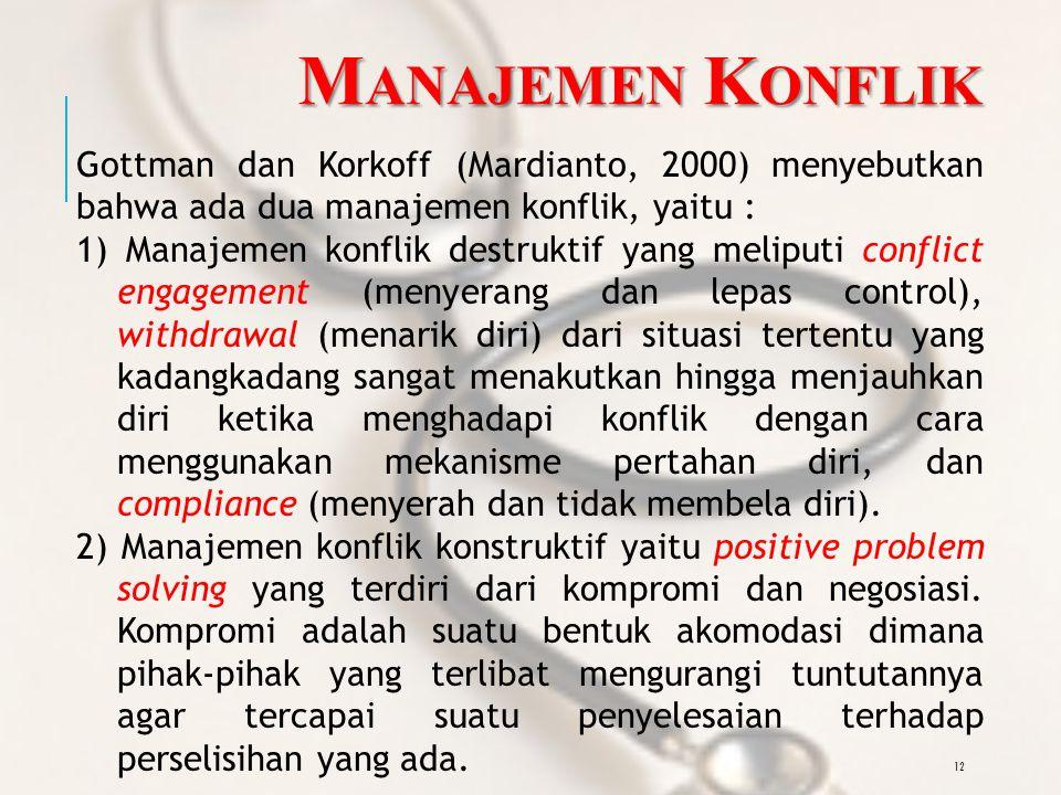 12 M ANAJEMEN K ONFLIK Gottman dan Korkoff (Mardianto, 2000) menyebutkan bahwa ada dua manajemen konflik, yaitu : 1) Manajemen konflik destruktif yang meliputi conflict engagement (menyerang dan lepas control), withdrawal (menarik diri) dari situasi tertentu yang kadangkadang sangat menakutkan hingga menjauhkan diri ketika menghadapi konflik dengan cara menggunakan mekanisme pertahan diri, dan compliance (menyerah dan tidak membela diri).