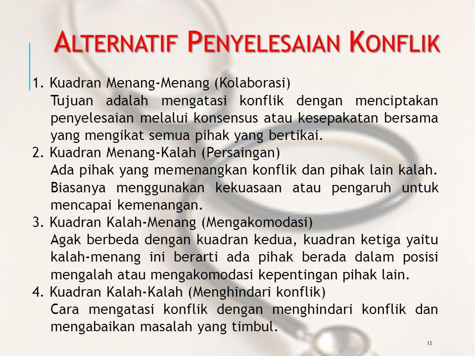 13 A LTERNATIF P ENYELESAIAN K ONFLIK 1.
