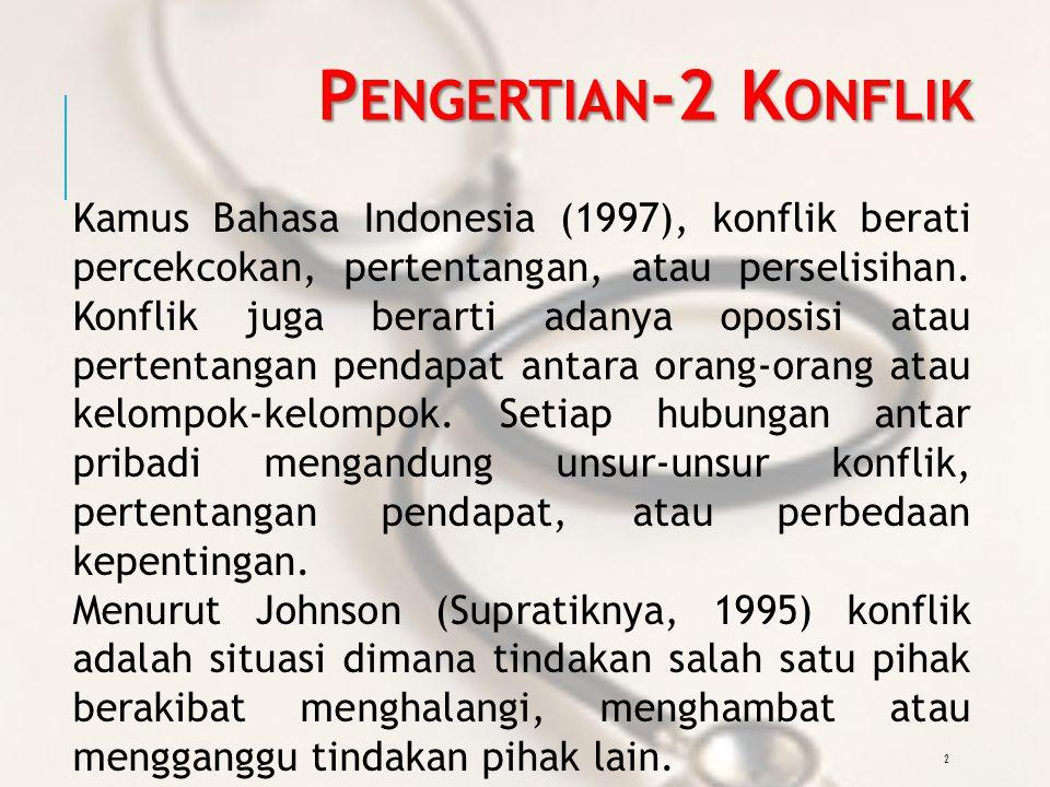 2 P ENGERTIAN -2 K ONFLIK Kamus Bahasa Indonesia (1997), konflik berati percekcokan, pertentangan, atau perselisihan.