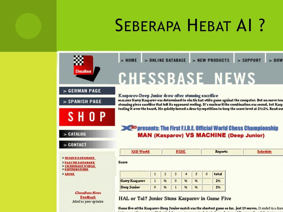 S EBERAPA H EBAT AI ? Garry Kasparov VS Deep Blue © 1997